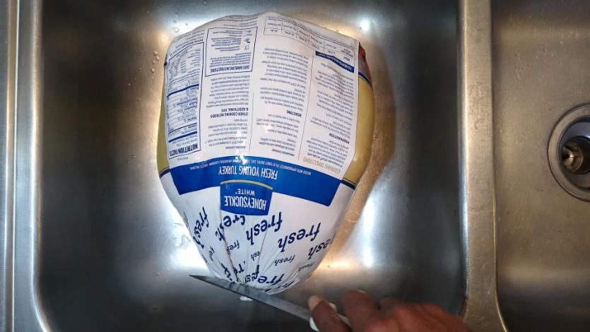First cut to open Turkey packaging