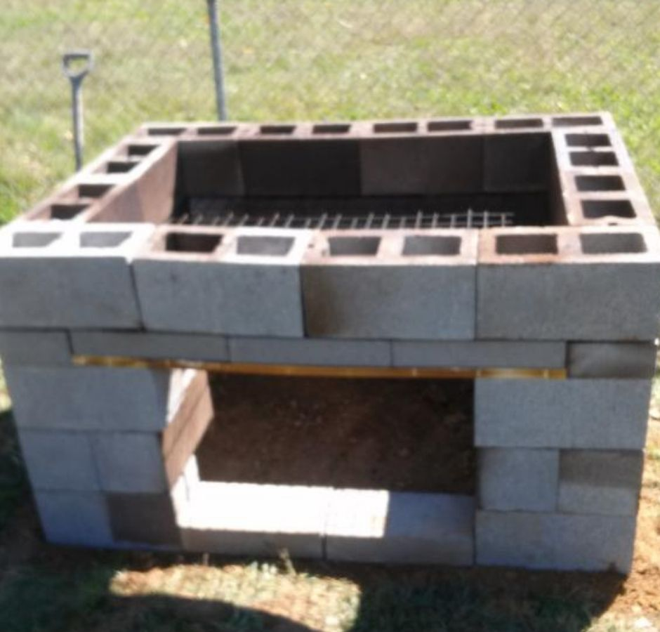How to Build a Cinder Block Smoker completed front view